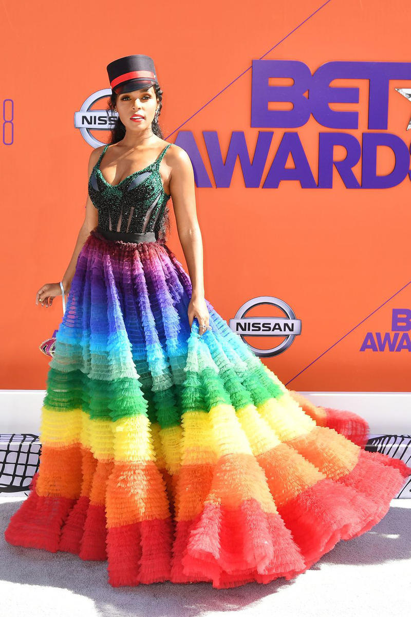 2018 BET Awards Red Carpet Janelle Monae Nicolas Jebran Rainbow Spring/Summer 2018 Gown