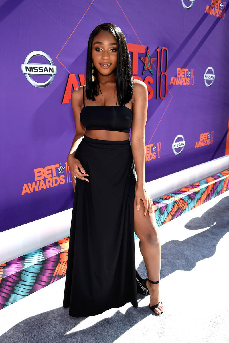 2018 BET Awards Red Carpet Normani Crop Top Skirt Black