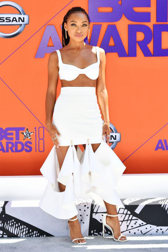 2018 BET Awards Red Carpet Logan Browning Dion Lee Top Skirt White