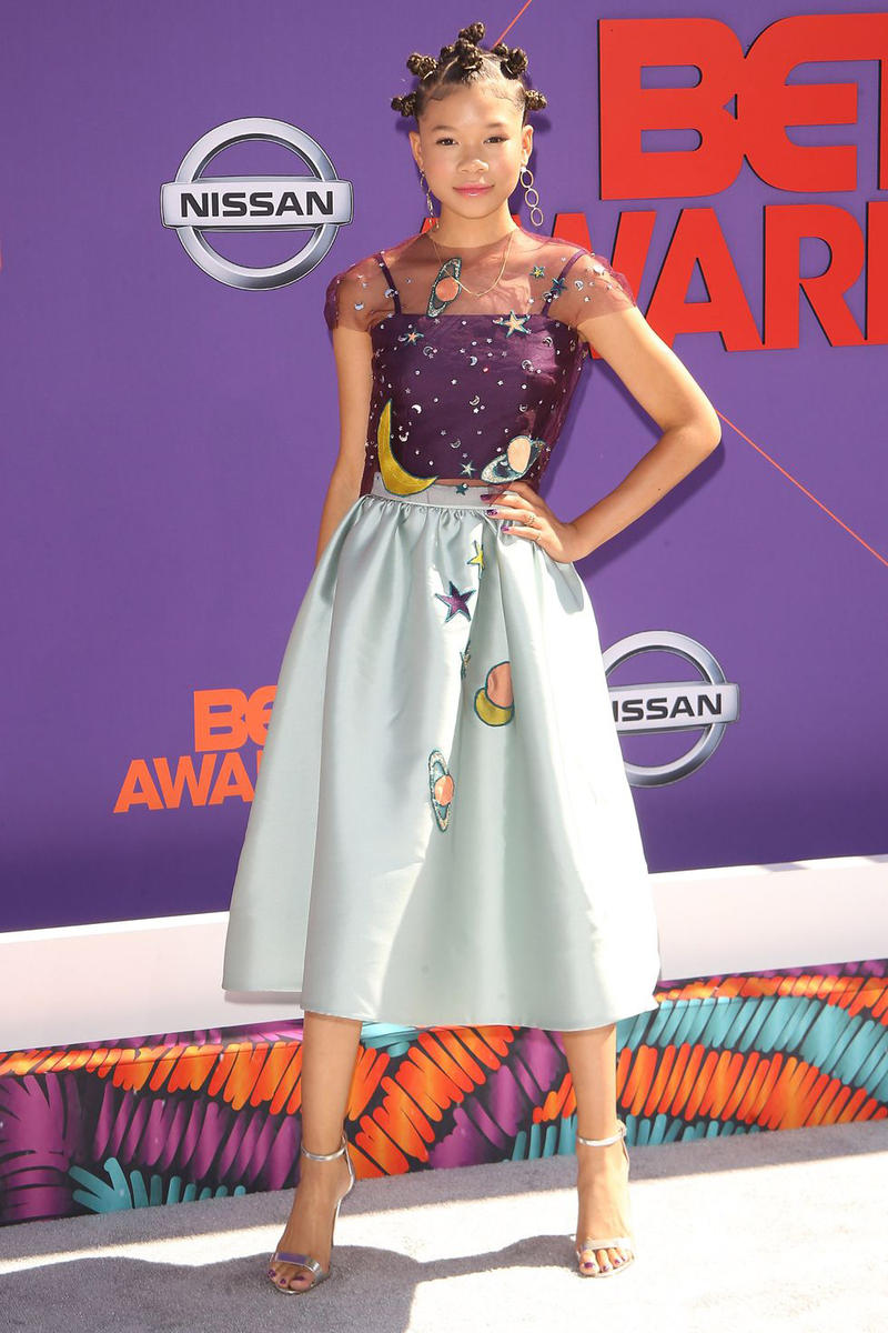 2018 BET Awards Red Carpet Storm Reid Reem Acra Top Skirt Purple Grey