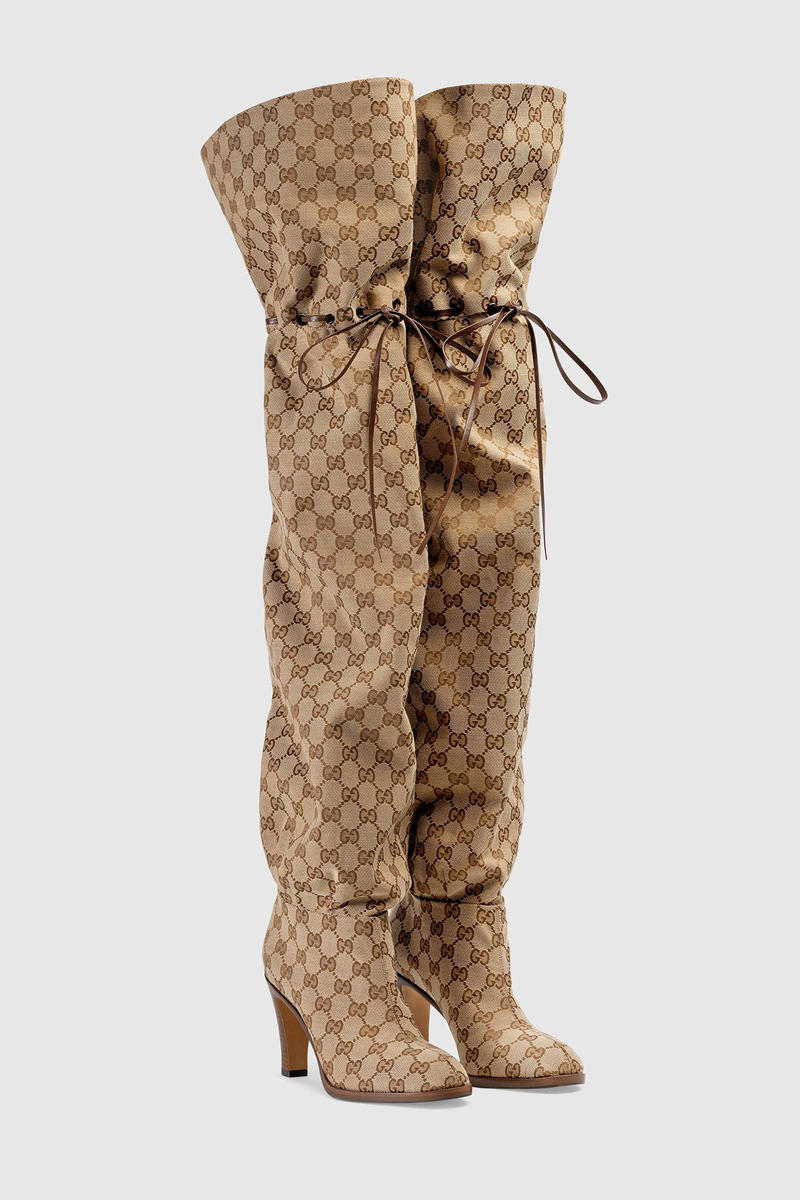 Gucci Over the Knee Boots Original GG Logo Pattern Brown Beyonce On the run  ii aaf513d3033f