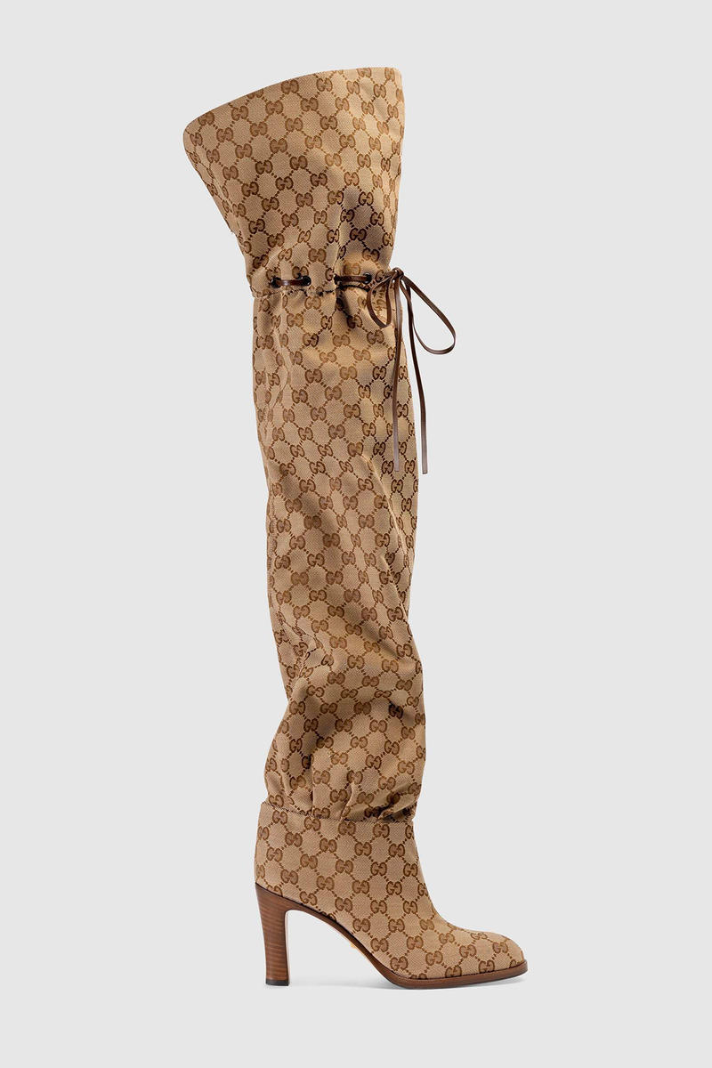 Gucci Over the Knee Boots Original GG Logo Pattern Brown Beyonce On the run ii