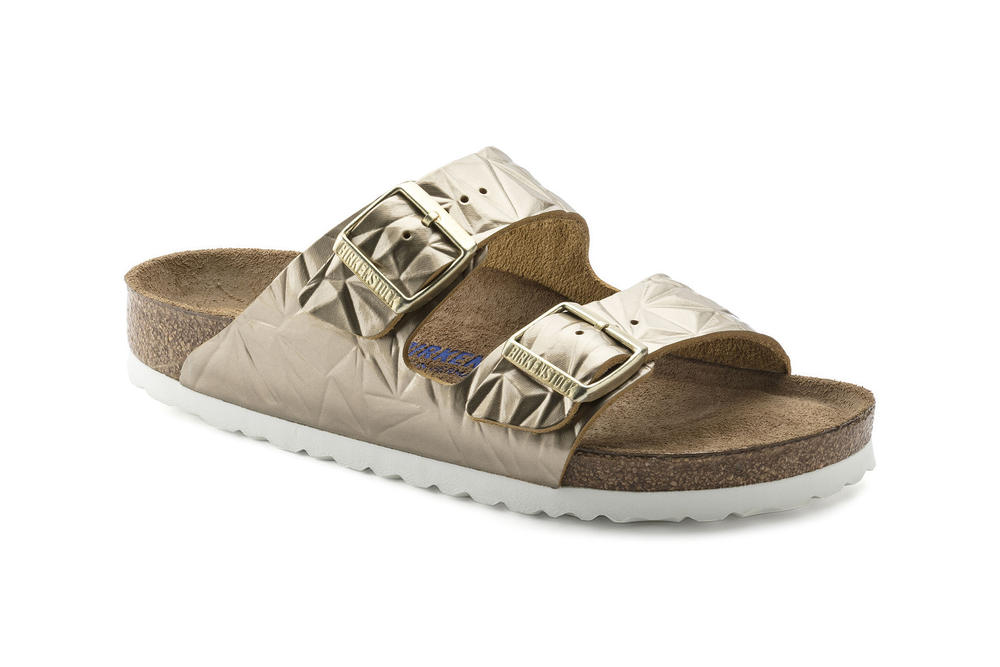 Birkenstock Metallic Rose Gold Spectral Silver Arizona Sandals