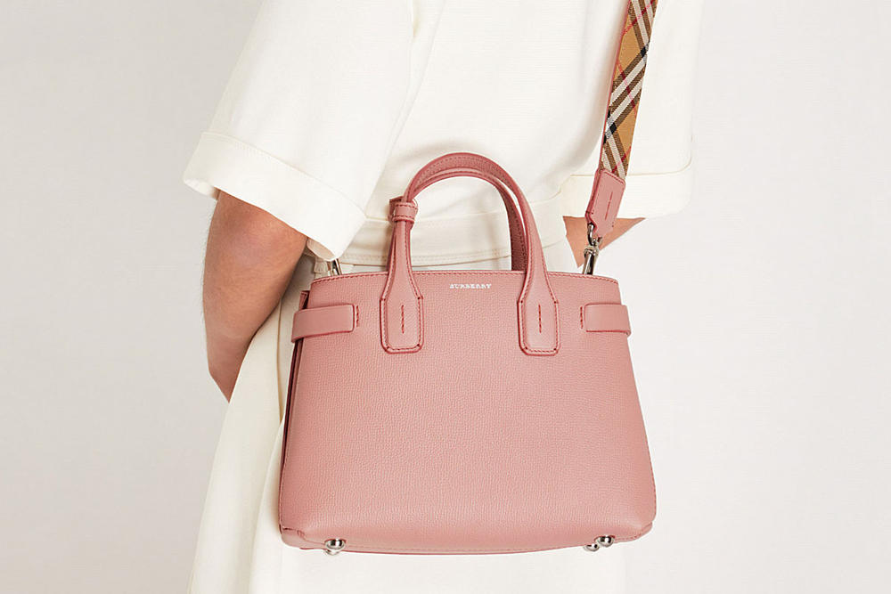 Burberry Dusty Rose Pink New Banner Grained Leather Tote Bag