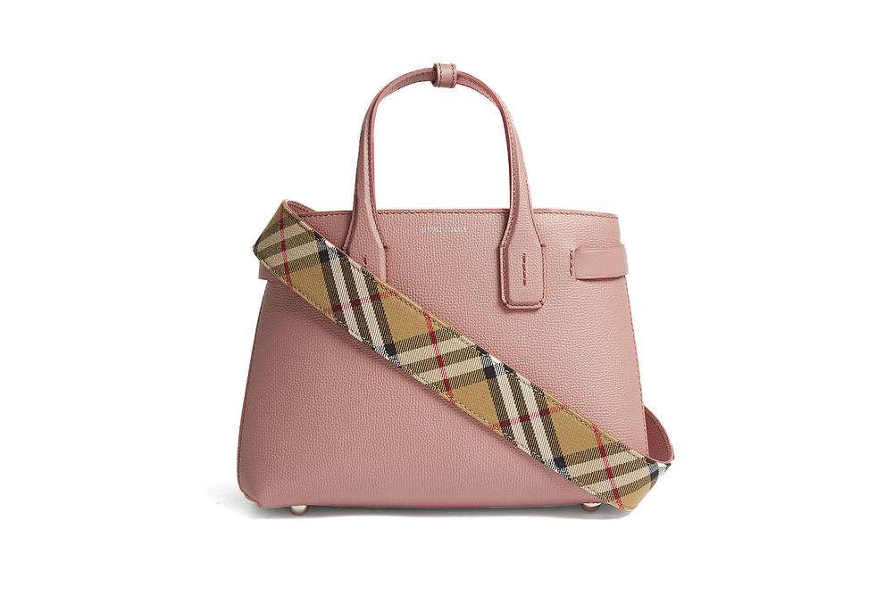 bd791c311238 Burberry Dusty Rose Pink New Banner Grained Leather Tote Bag