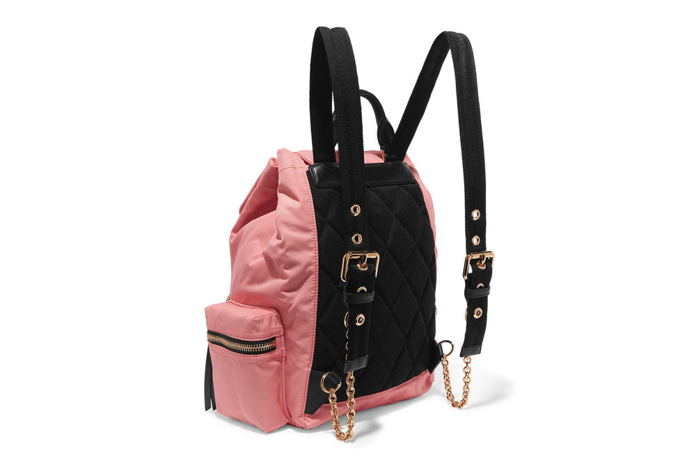 Burberry Gabardine Leather Trim Backpack Coral Pink