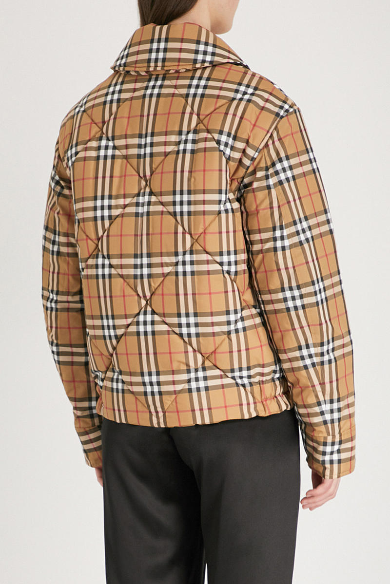 Burberry Knowstone Vintage Check Quilted Jacket Tan Yellow Plaid
