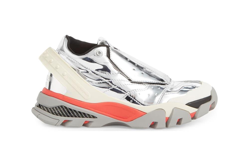 CALVIN KLEIN 205W39NYC Metallic Silver Carla Sneakers Bulky Chunky Dad Shoes