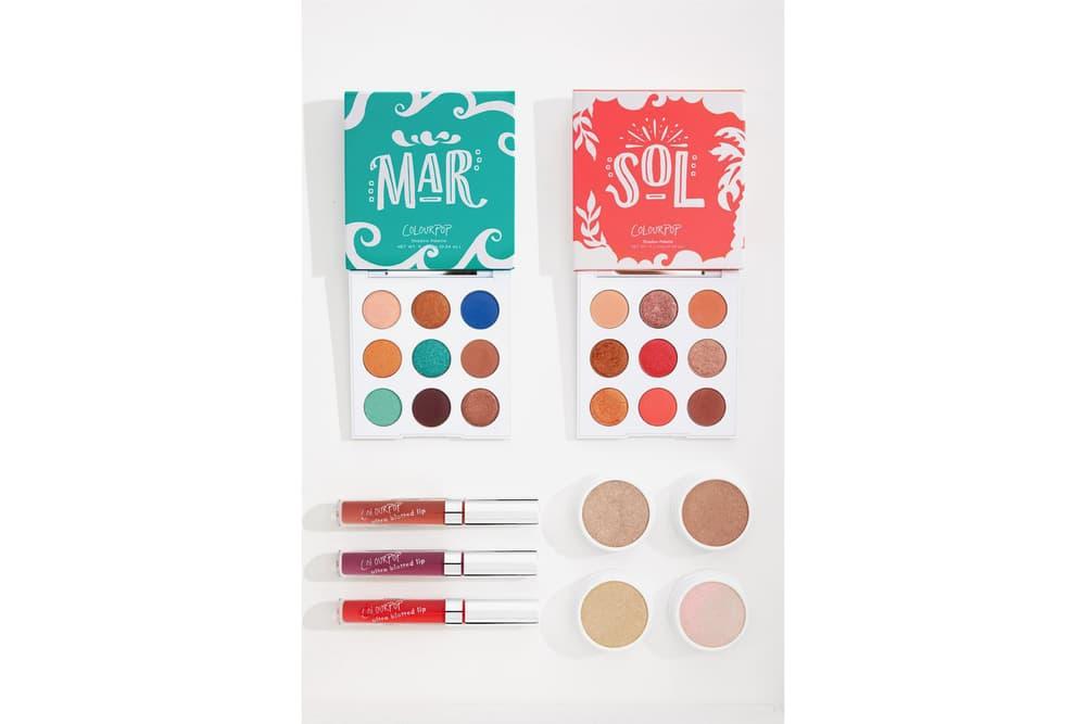ColourPop Sol + Mar Eyeshadow Palette Super Shock Highlighter Blotted Lip Summer 2018 Collection
