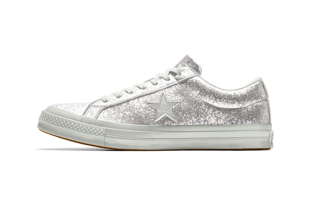 Customize Converse One Star Glitter NIKEid Gold Silver Rose Quartz Pink Sneakers