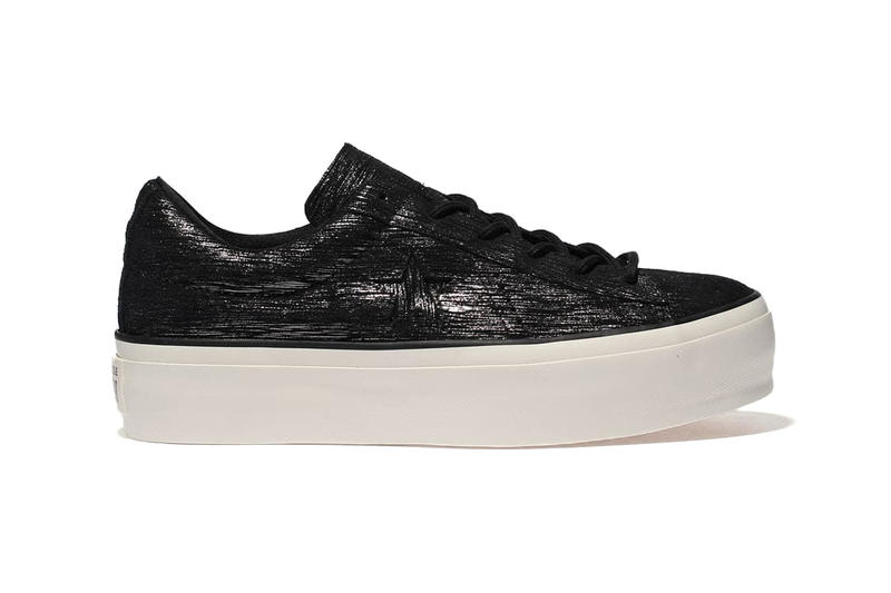 Converse Drops One Star Platform Lilac Black Shimmer Leather Sneaker
