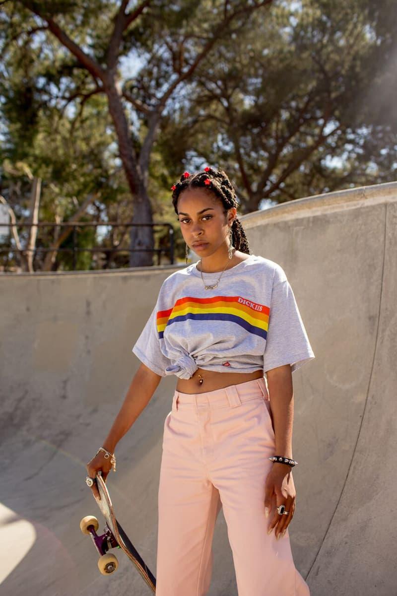 Depop x Dickies Girls Capsule Collection Lookbook Sunset Stripe Tee Grey