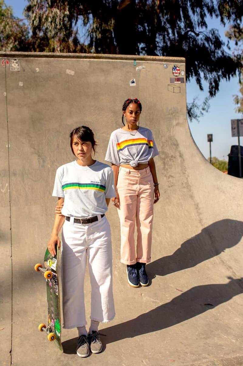 Depop x Dickies Girls Capsule Collection Lookbook Sunset Stripe Tee Grey Sky Blue