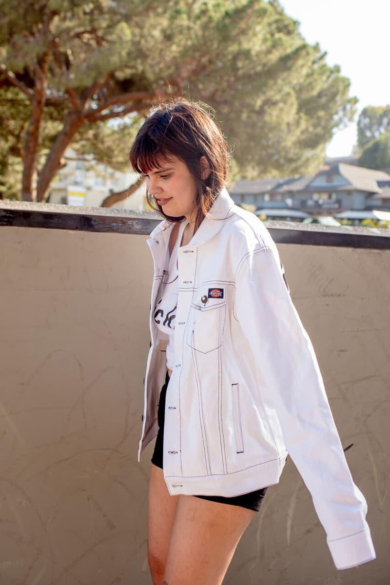 Depop x Dickies Girls Capsule Collection Lookbook Spiral Denim Jacket White