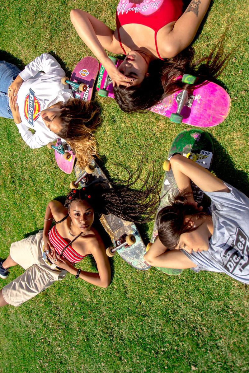 Depop x Dickies Girls Capsule Collection Lookbook OG Logo Cropped Hoodie Work Short White Khaki