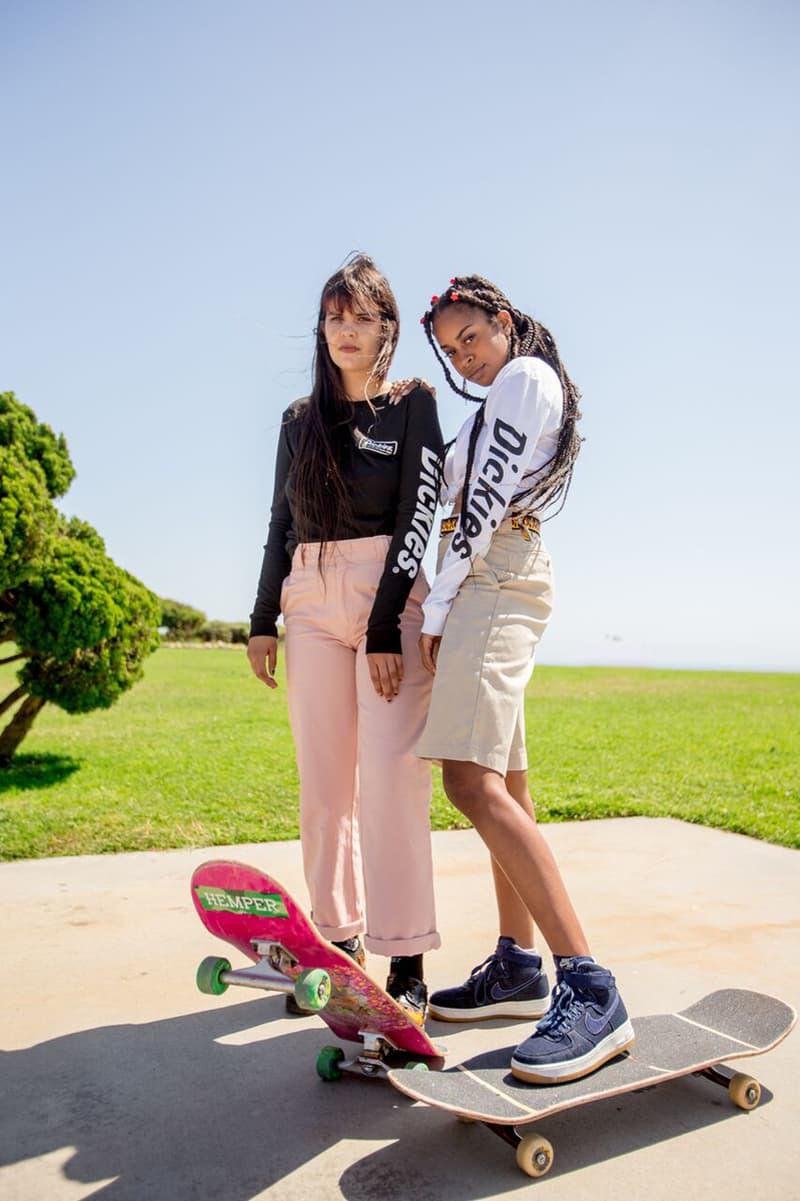 Depop x Dickies Girls Capsule Collection Lookbook High Rise Work Pant OG Long Sleeve Tee Work Short Dusty Pink White Black Khaki