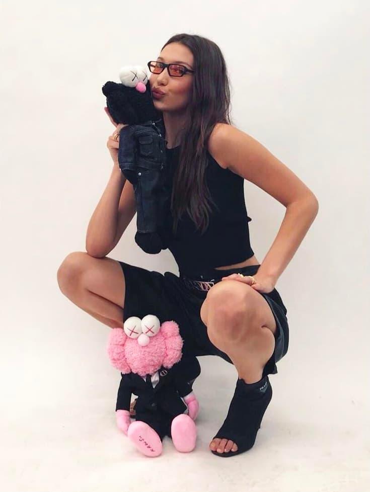 Dior Homme Kaws Spring Summer 2019 Collaboration Pink Black BFF Plush Toy Bella Hadid