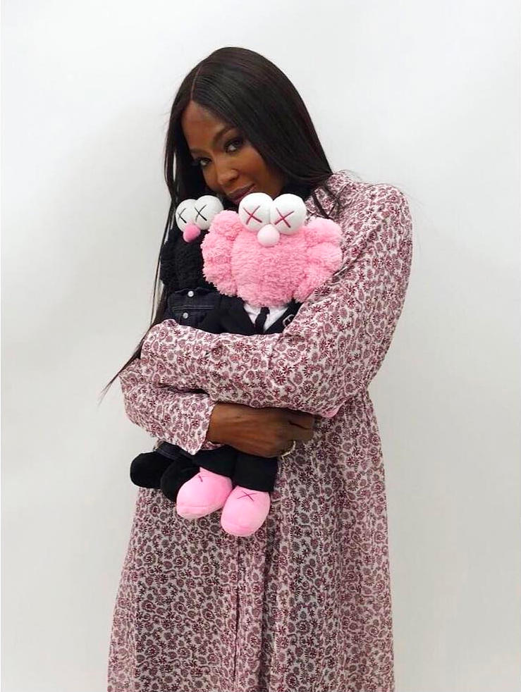 Dior Homme Kaws Spring Summer 2019 Collaboration Pink Black BFF Plush Toy Naomi Campbell
