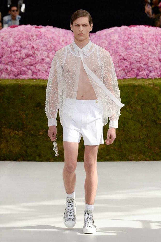 Dior Homme Spring Summer 2019 Runway Show Paris Fashion Week Men's Kim Jones Yoon Ahn Kaws White See Through Shirt Keychain