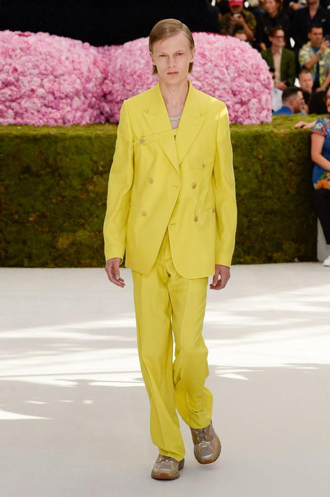Dior Homme Spring Summer 2019 Runway Show Paris Fashion Week Men's Kim Jones Yoon Ahn Kaws Yellow Suit