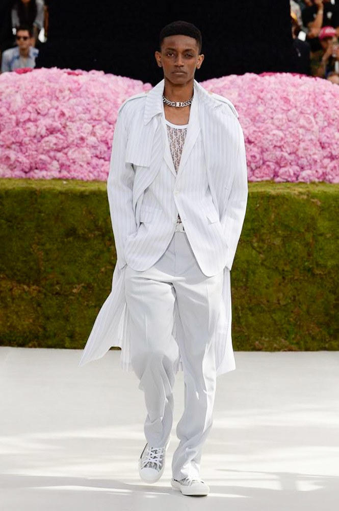 Dior Homme Spring Summer 2019 Runway Show Paris Fashion Week Men's Kim Jones Yoon Ahn Kaws White Coat Logo See Through