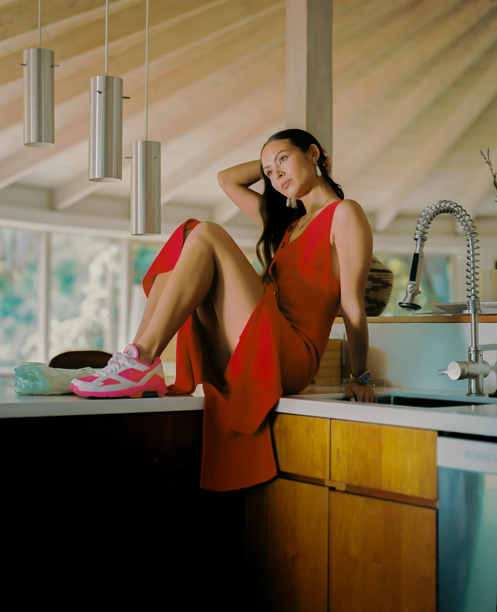 Emily Oberg SSENSE Interview Editorial Comme des Garcons Nike Pink White Red Dress