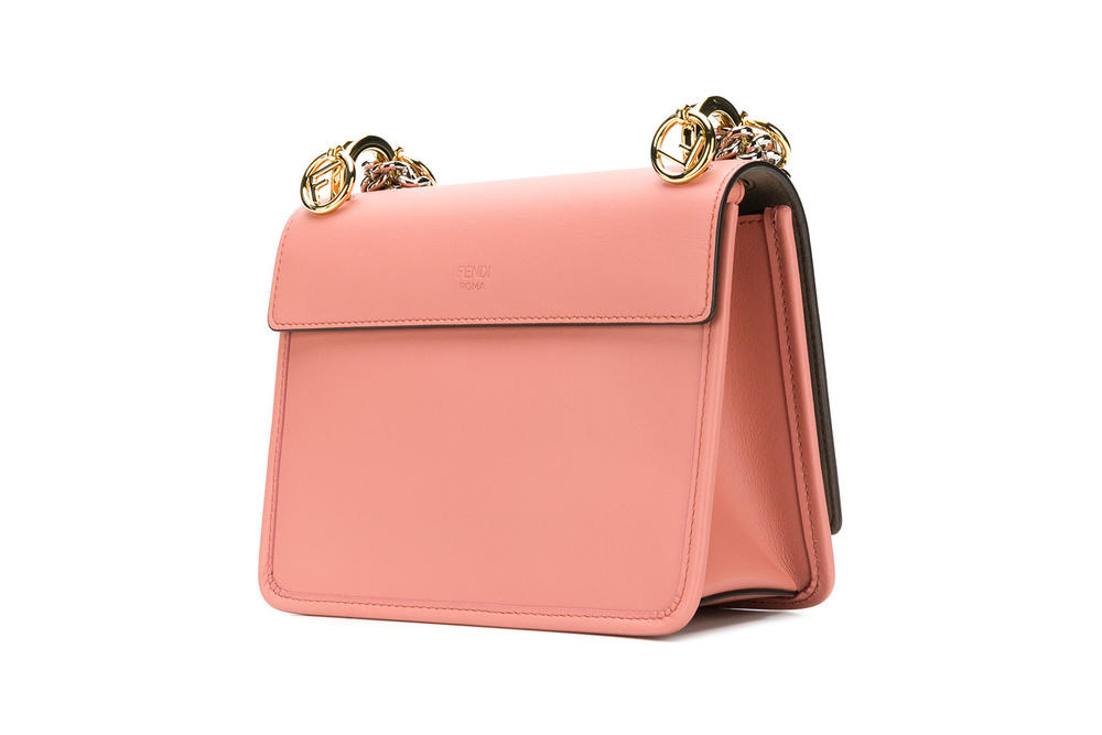Fendi Kan Logo Leather Shoulder Bag Pink