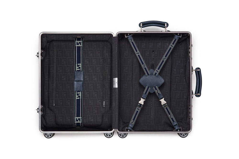 RIMOWA x Fendi Collaboration Aluminum Suitcase Blue