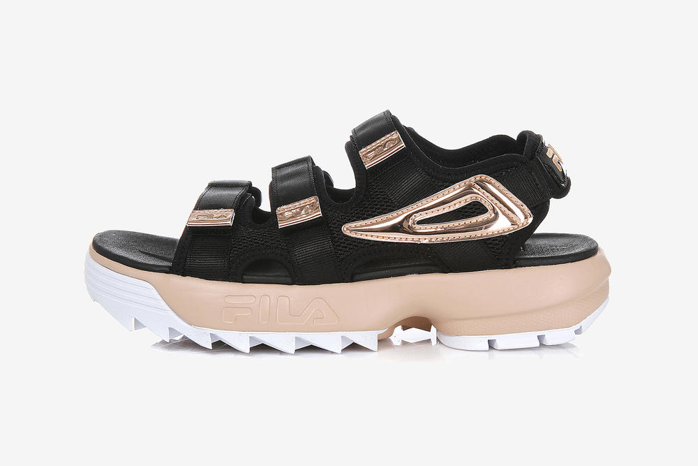 23221e28af9c FILA Korea Chunky  90s Disruptor Sandals White Black Rose Gold Silver