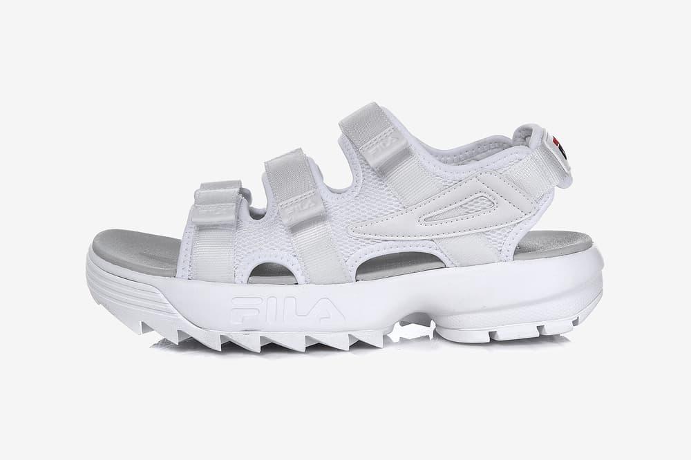 FILA Korea Chunky '90s Disruptor Sandals White Black Rose Gold Silver