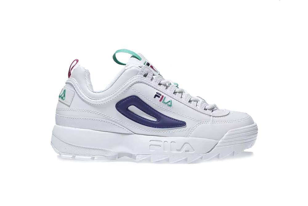 FILAs Disruptor 2 Arrives Premium Purple & White Sneaker Chunky Shoe Dad Trainer White Purple Pink Turquoise