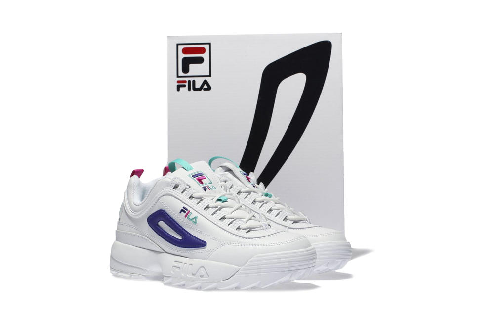 FILAs Disruptor 2 Arrives Premium Purple & White Sneaker Chunky Shoe Dad Trainer White Purple Pink Turquoise