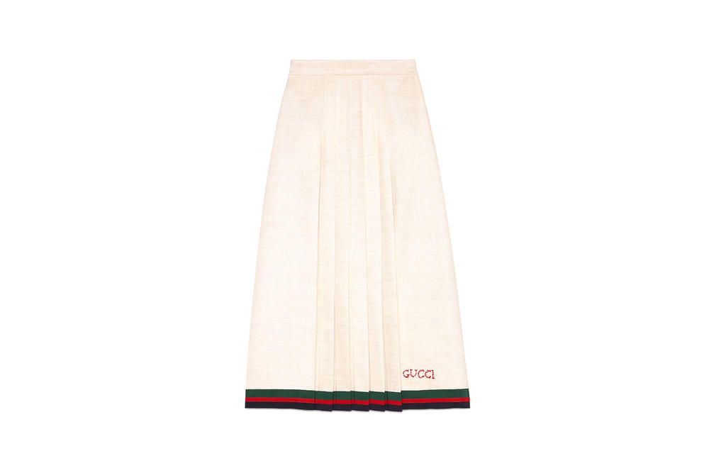 Gucci Linen Pleated Skirt White