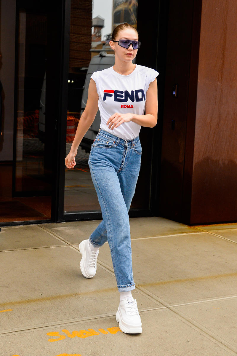 Gigi Hadid Fila Fendi White Tee Jeans Naked Wolfe Chunky Platform Sneakers Sunglasses