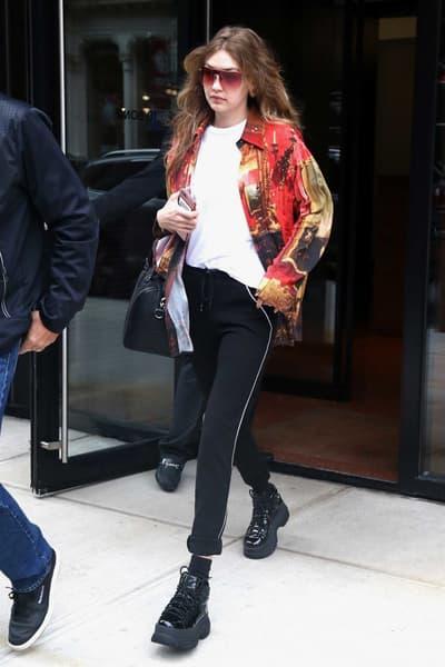 Gigi Hadid Black Platform Boots Chunky Naked Wolfe Red Jacket Sunglasses