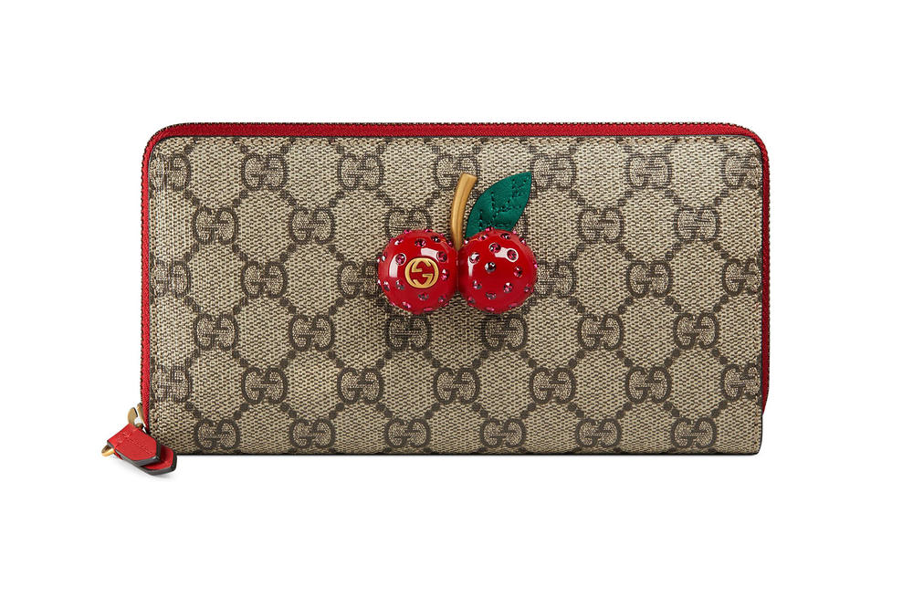 GG Supreme zip around wallet with cherries