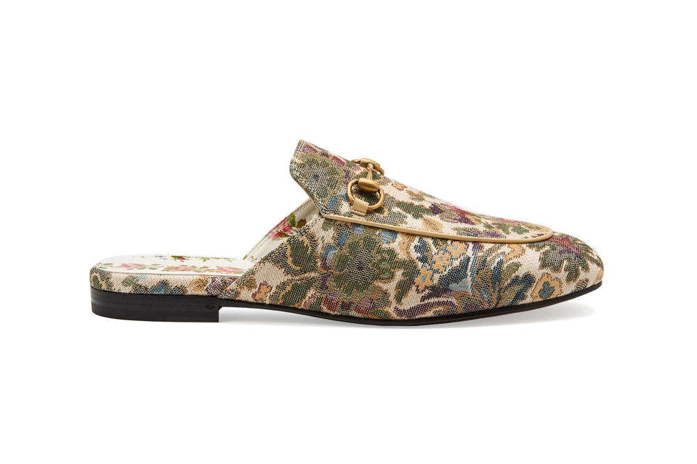 Gucci Garden Capsule Collection Princetown Embroidered Slipper Green Gold