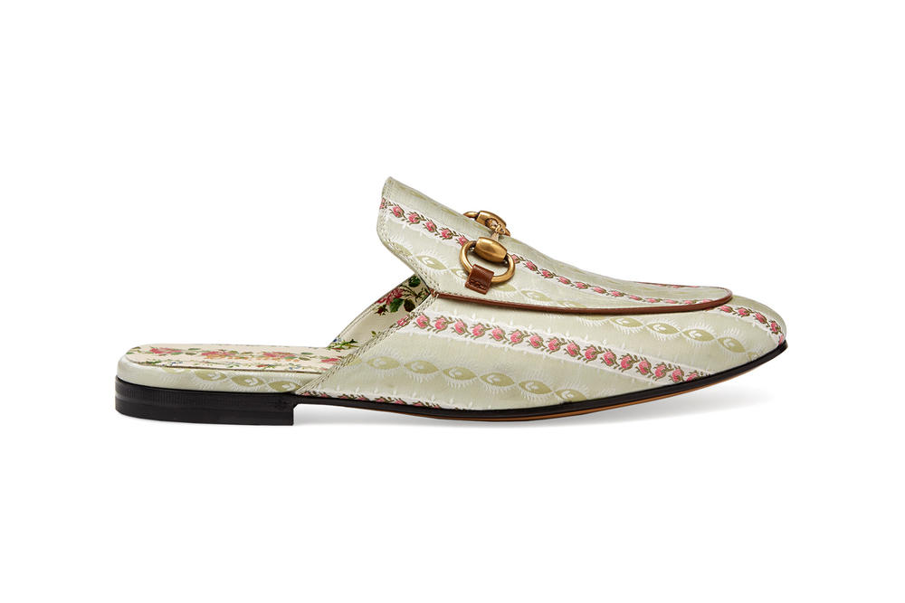 Gucci Garden Capsule Collection Princetown Patterned Slipper Cream Gold
