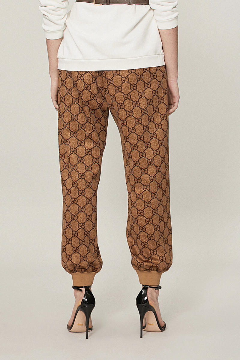 Gucci GG Intarsia Vintage Camel Brown Monogrammed Logo Track Pants
