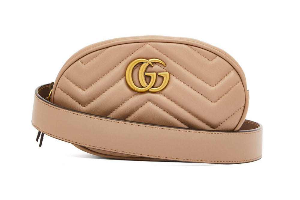 Gucci GG Marmont Leather Belt Bag Nude Beige
