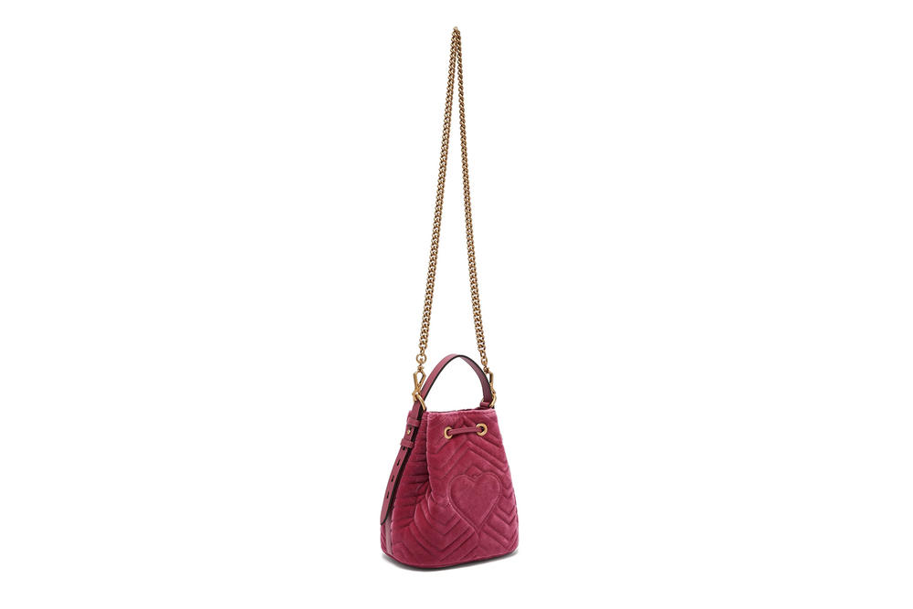Gucci GG Marmont Bucket Bag Pink Velvet