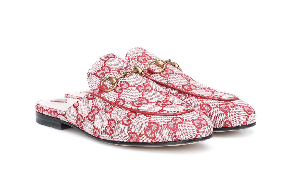 efe5d669773 Gucci GG Princetown Slippers Red Monogram Print