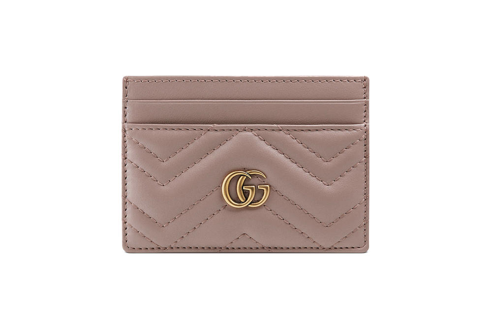 Gucci Leather Marmont Card Case Light Dusty Pink Hibiscus Red Black