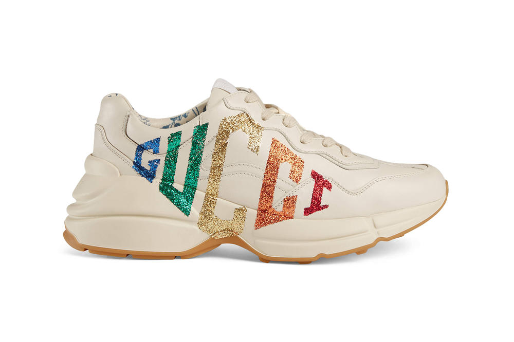 f1a0d815faf Gucci Rainbow Glitter Logo Rhyton Chunky White Leather Sneakers