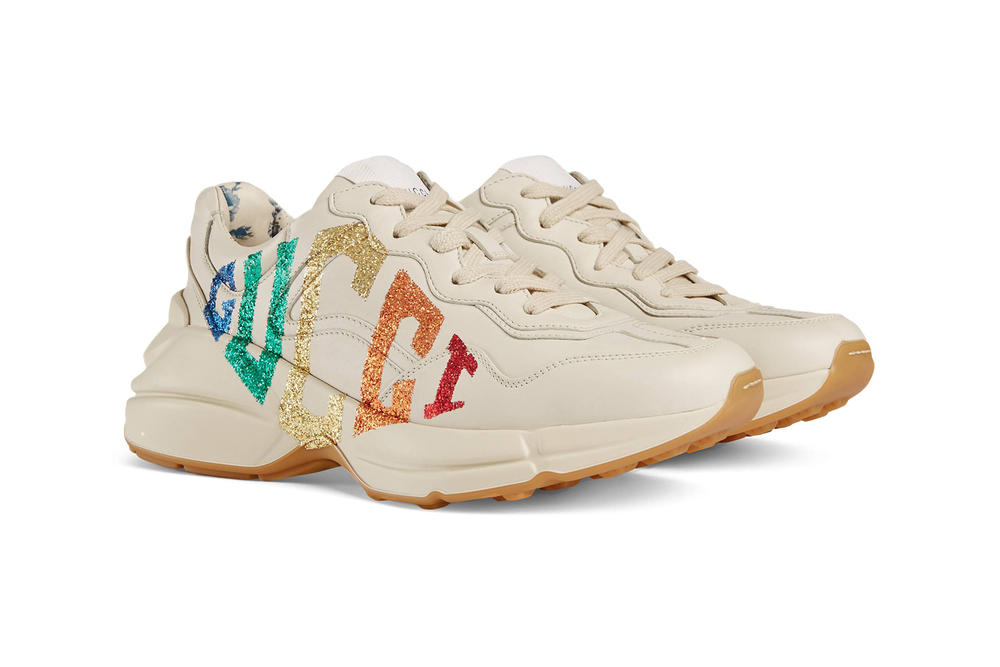 Gucci Rainbow Glitter Logo Rhyton Chunky White Leather Sneakers
