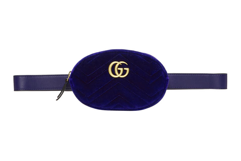 Blue Navy Velvet Gucci Marmont Belt Bag