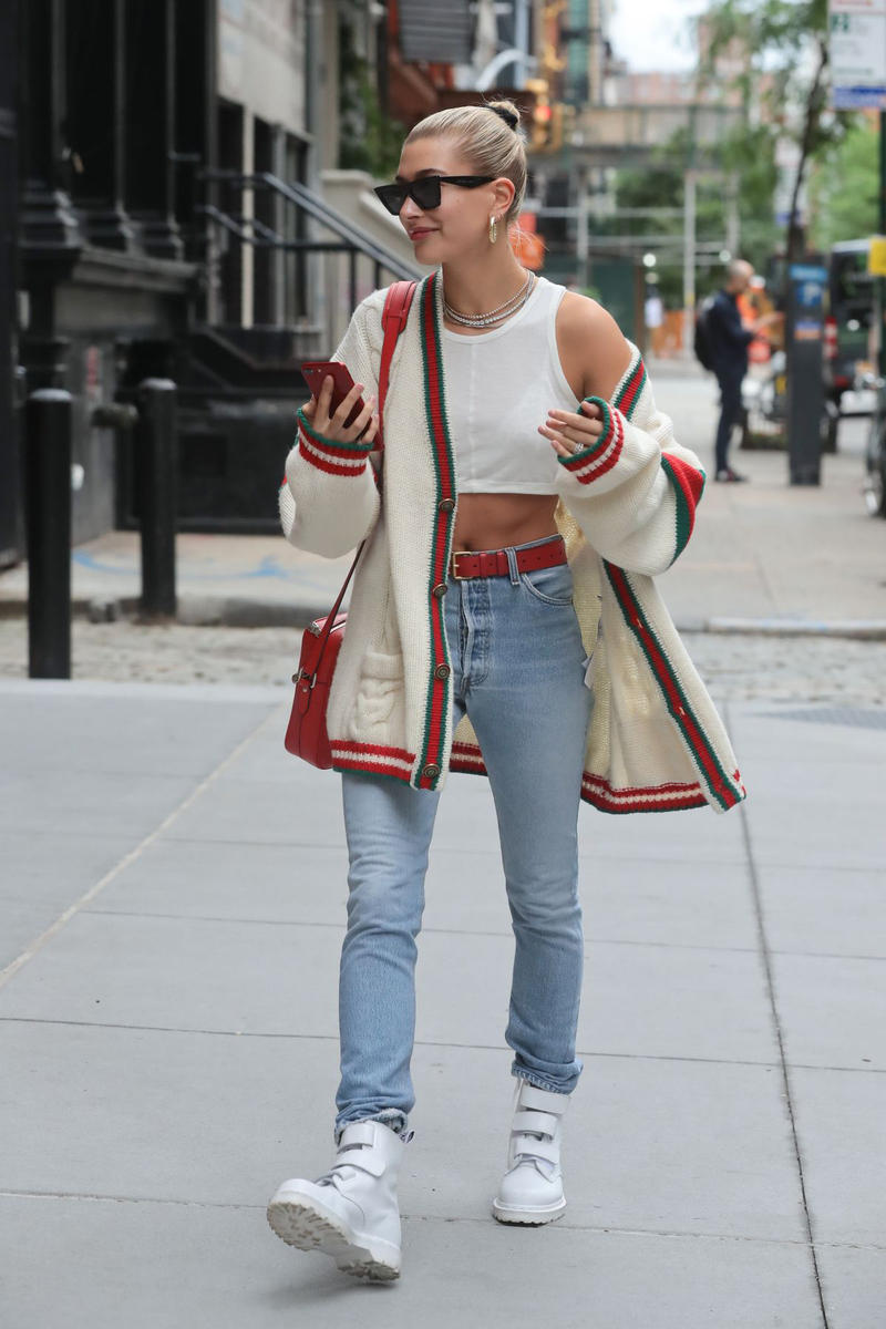 Hailey Baldwin Gucci Cardigan White Red Green Cable Knit Crop Top Supreme Louis Vuitton Bag Celine Sunglasses Hoop Earrings Gold