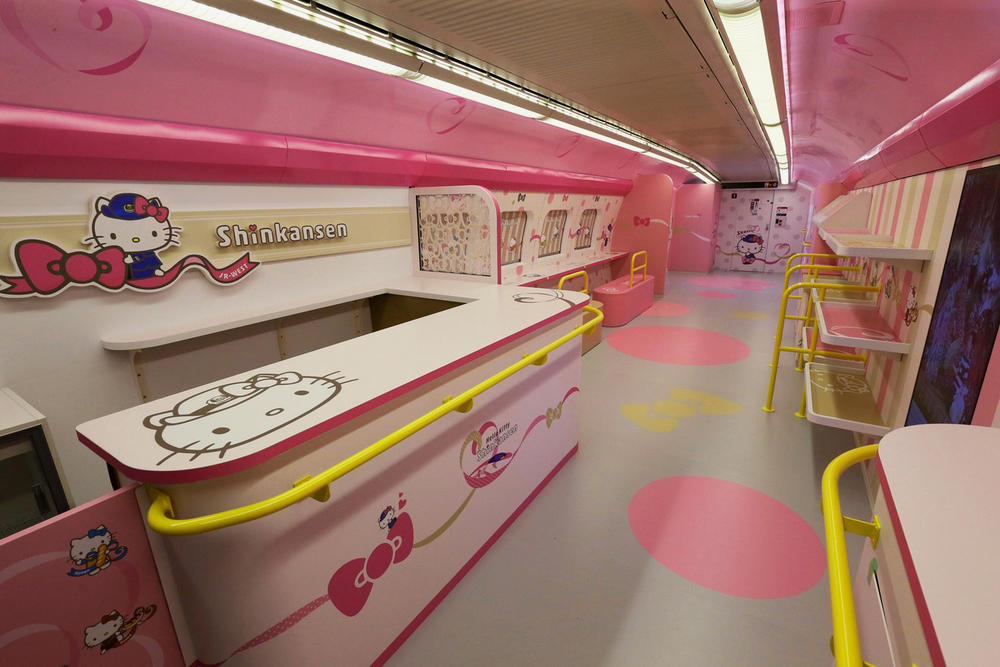 Hello Kitty Shinkansen Bullet Train Japan West Osaka Interior Pink