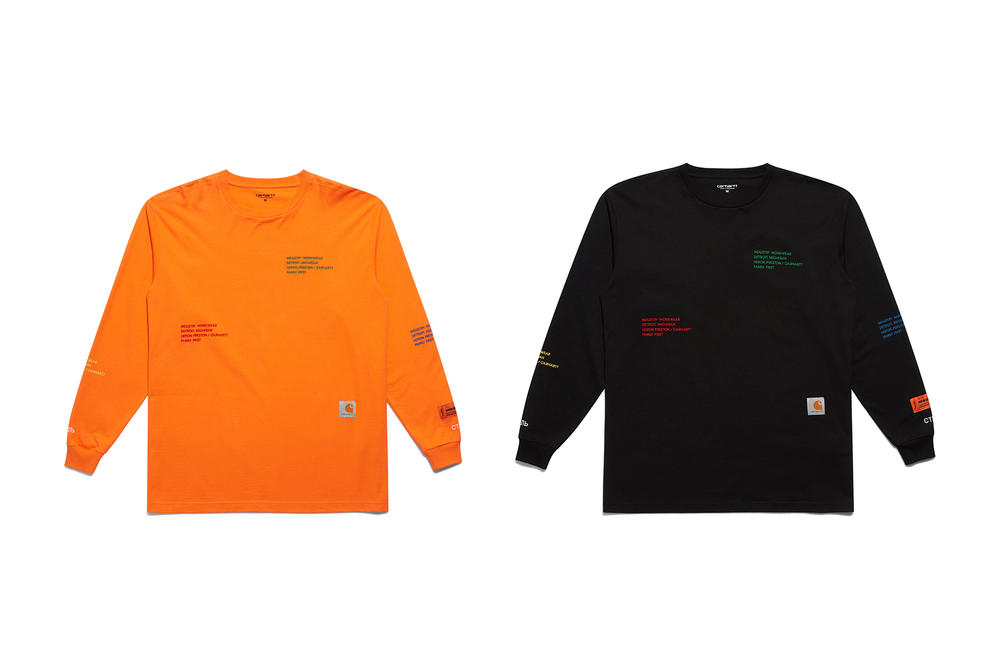 Heron Preston Carhartt WIP Long Sleeve T Shirt Orange Black