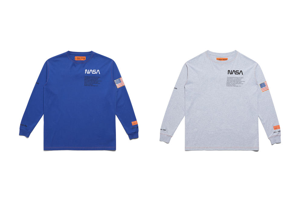 Heron Preston NASA Long Sleeve T Shirt Blue White